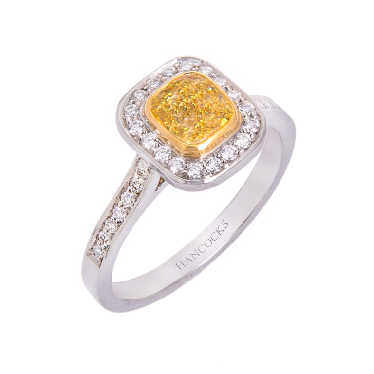platinum and yellow diamond cluster engagement ring HC 100719 53