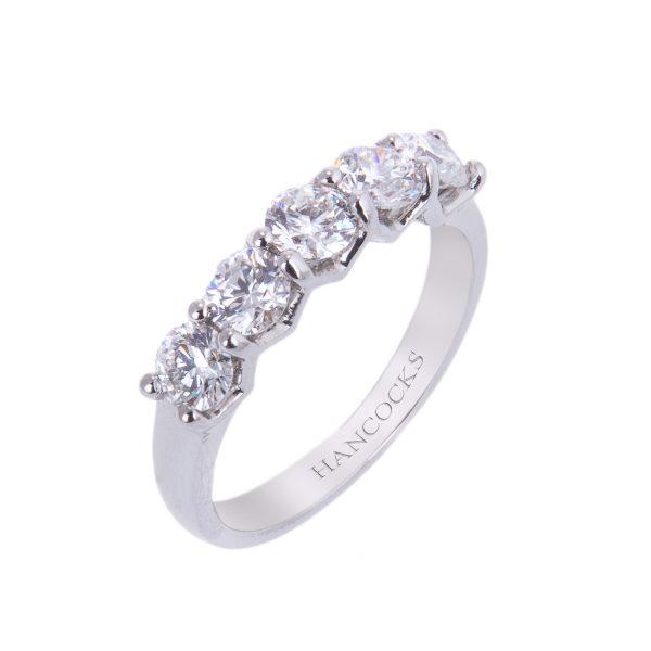 hancocks 1.25ct brilliant cut diamond half eternity ring