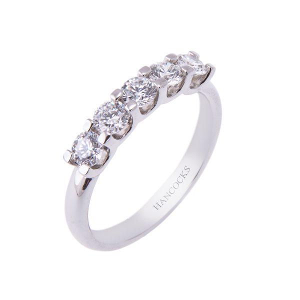 5-stone-brilliant-cut-diamond-platinum-eternity-ring
