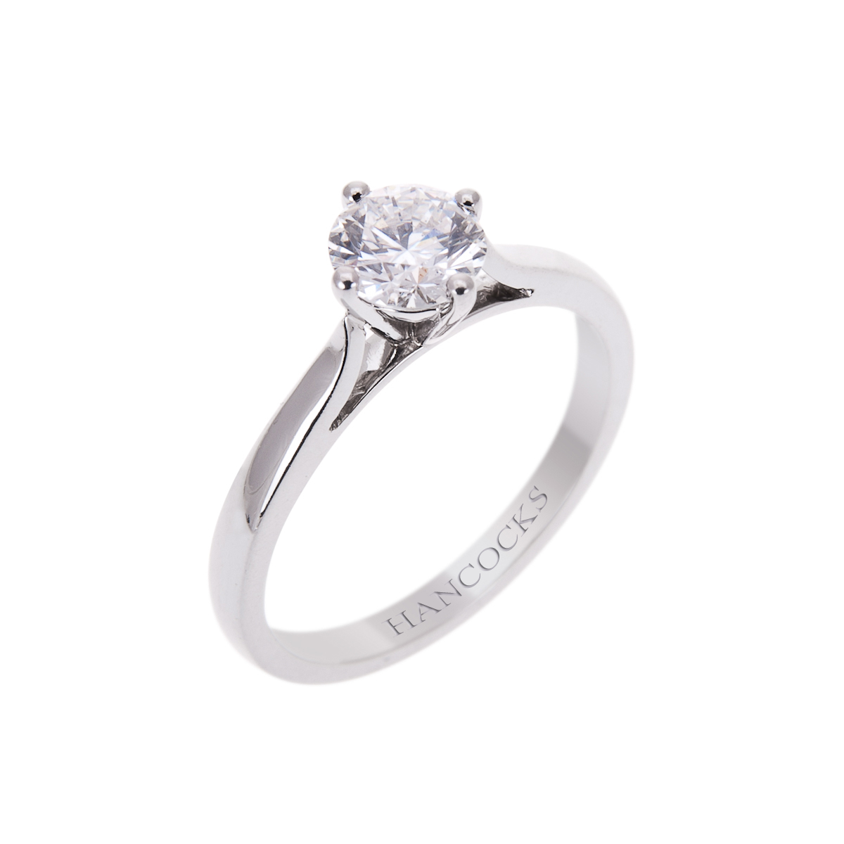 certificated d colour brilliant cut diamond single stone ring mounted in platinum