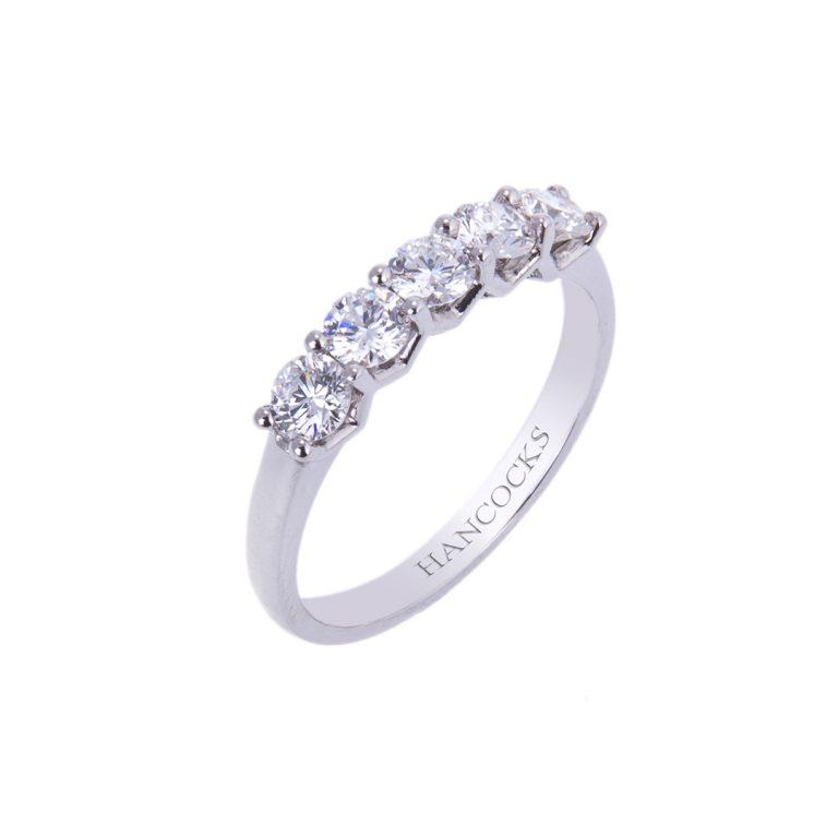 platinum diamond 5 stone half eternity ring