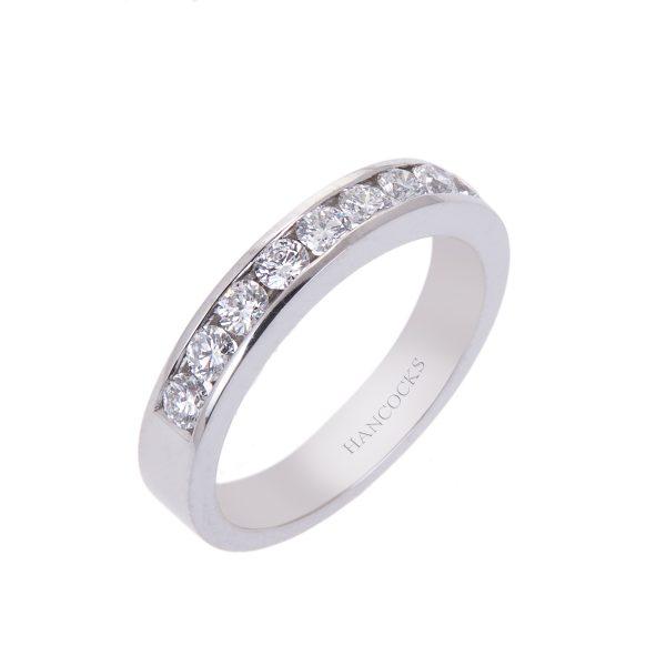 channel set brilliant-cut-diamond-half-eternity-ring