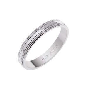ladies platinum double bead edge wedding ring