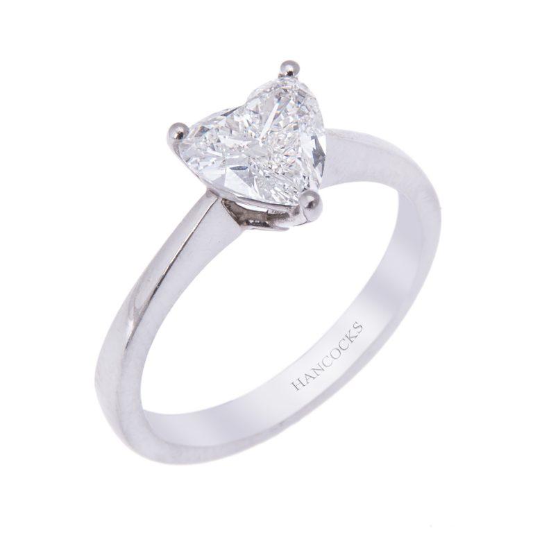 platinum heart shaped diamond ring