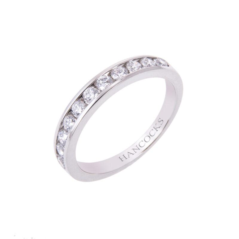 channel set ladies diamond wedding ring