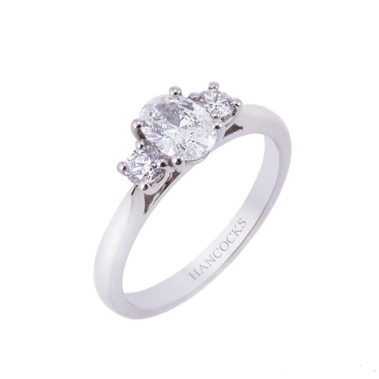 platinum oval cut diamond 3 stone ring HC 107