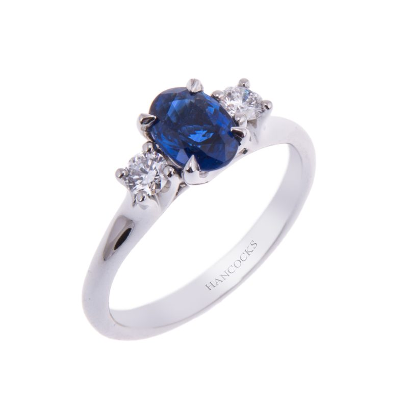 oval sapphire and diamond 3-stone ring