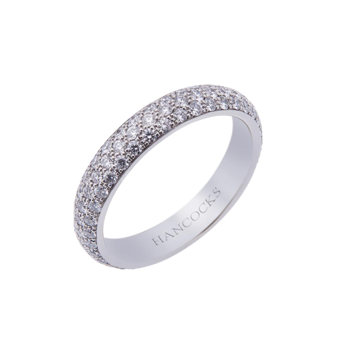 Platinum Pavé Diamond Set Wedding Band