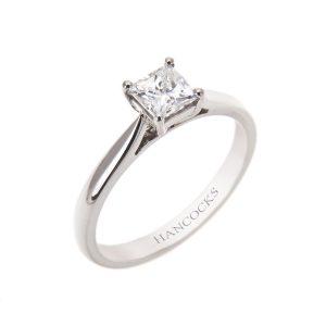 gia certificated f colour princess cut diamond single stone ring