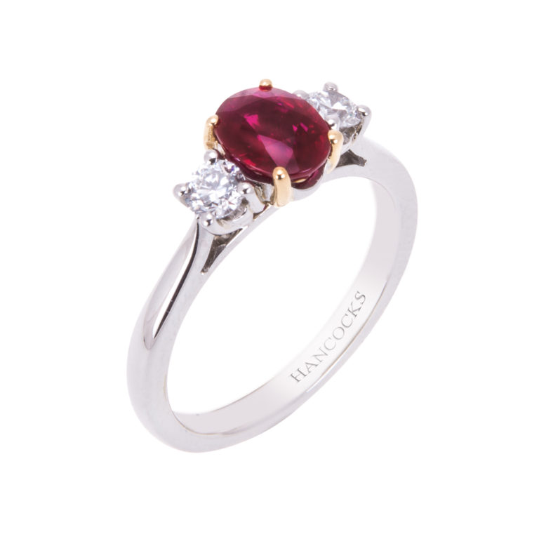 platinum ruby and diamond 3 stone ring HRC 29