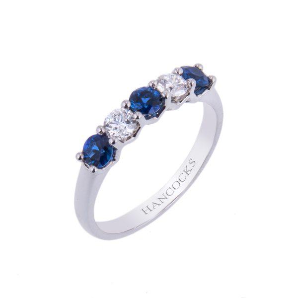 platinum-sapphire-and-brilliant-cut-diamond-eternity-ring