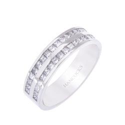 princess cut diamond 2 row band ring H1200 60