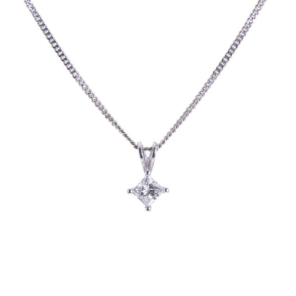single stone princess cut diamond pendant mounted in a platinum claw setting with open bale