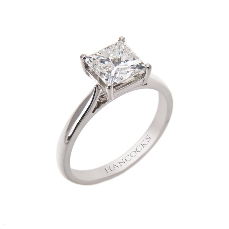 certificated g colour princess cut diamond ring