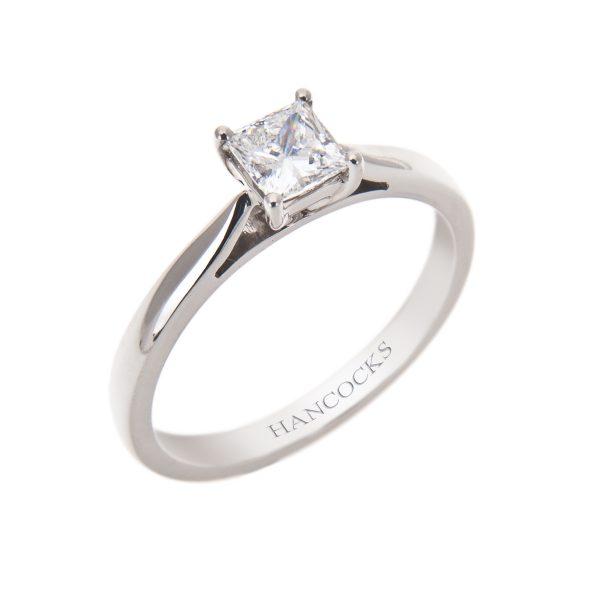 certificated d colour princess cut diamond ring