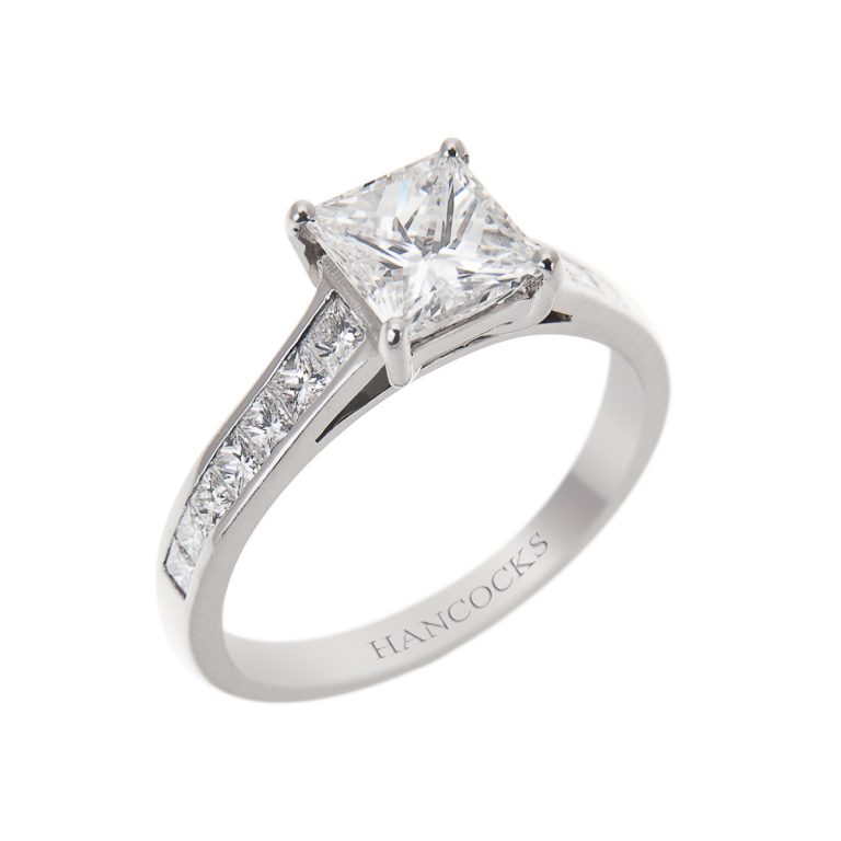 platinum princess cut diamond ring with diamond shoulders