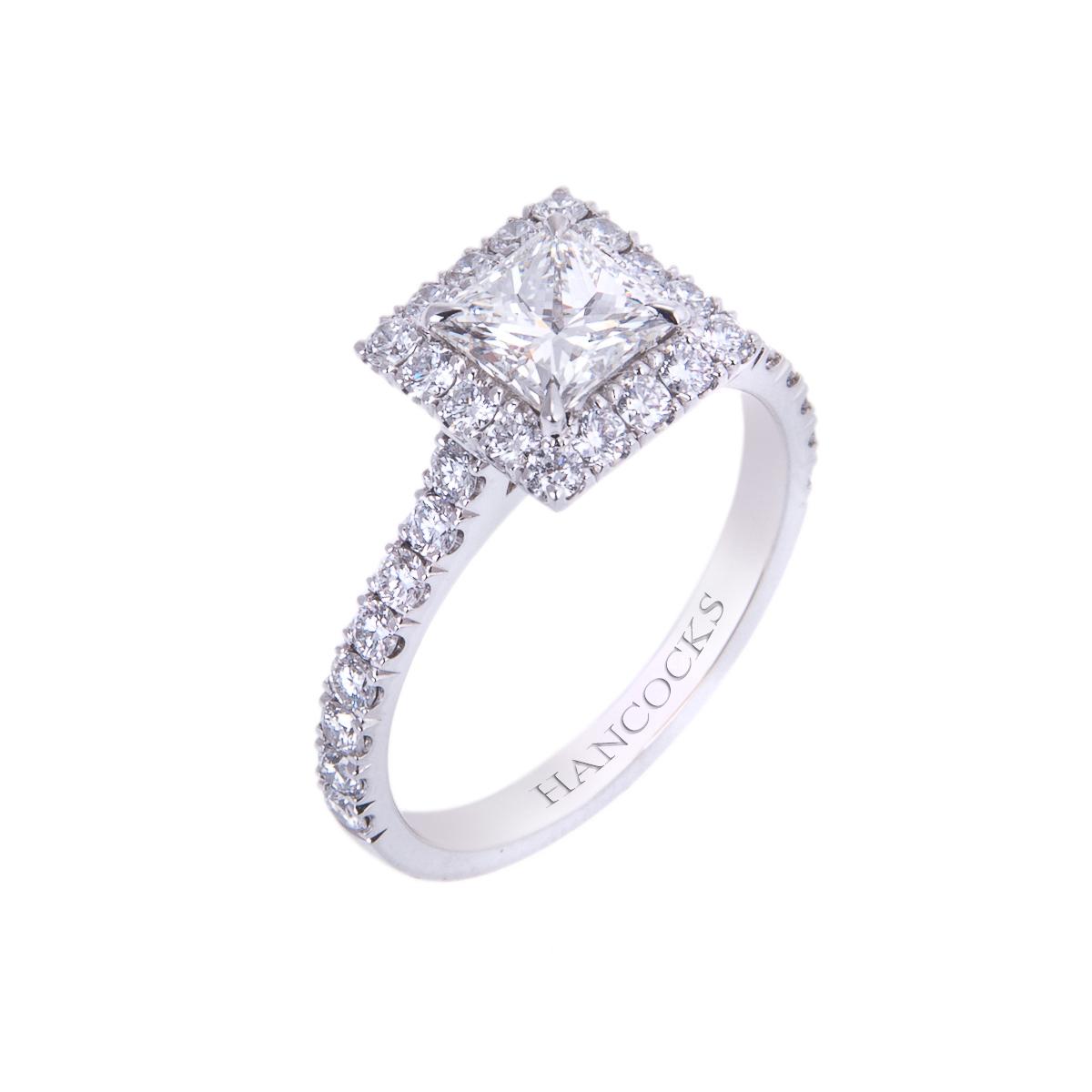 certificated princess cut diamond halo set ring