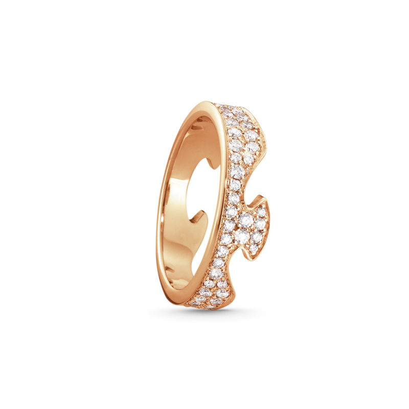 georg jensen 18 carat rose gold pave' diamond set end section ring