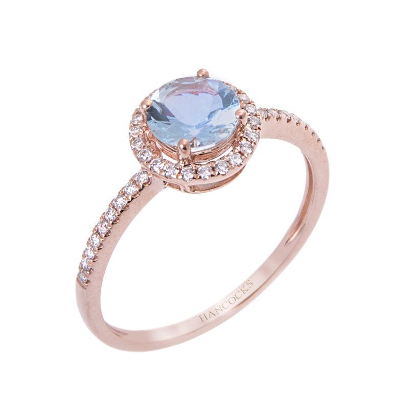 aqua and diamond cluster ring