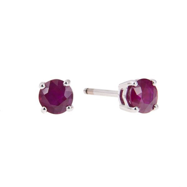 18ct white gold claw set round ruby stud earrings