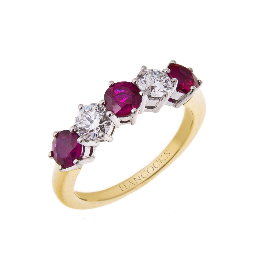 ruby and diamond 5-stone half eternity in an 18ct gold claw setting