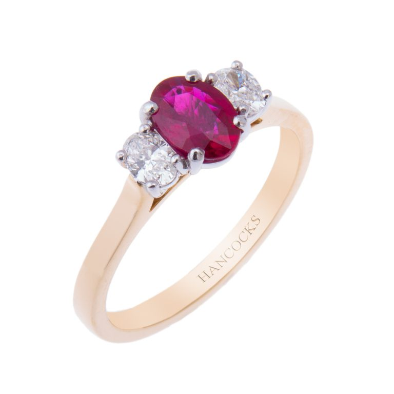ruby and diamond 3 stone ring H1200 24