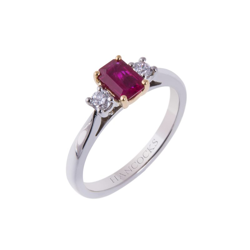 ruby and diamond 3-stone ring in platinum and 18ct gold