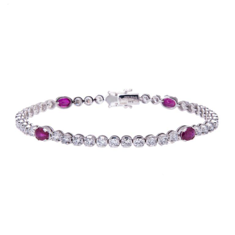 ruby and diamond set bracelet