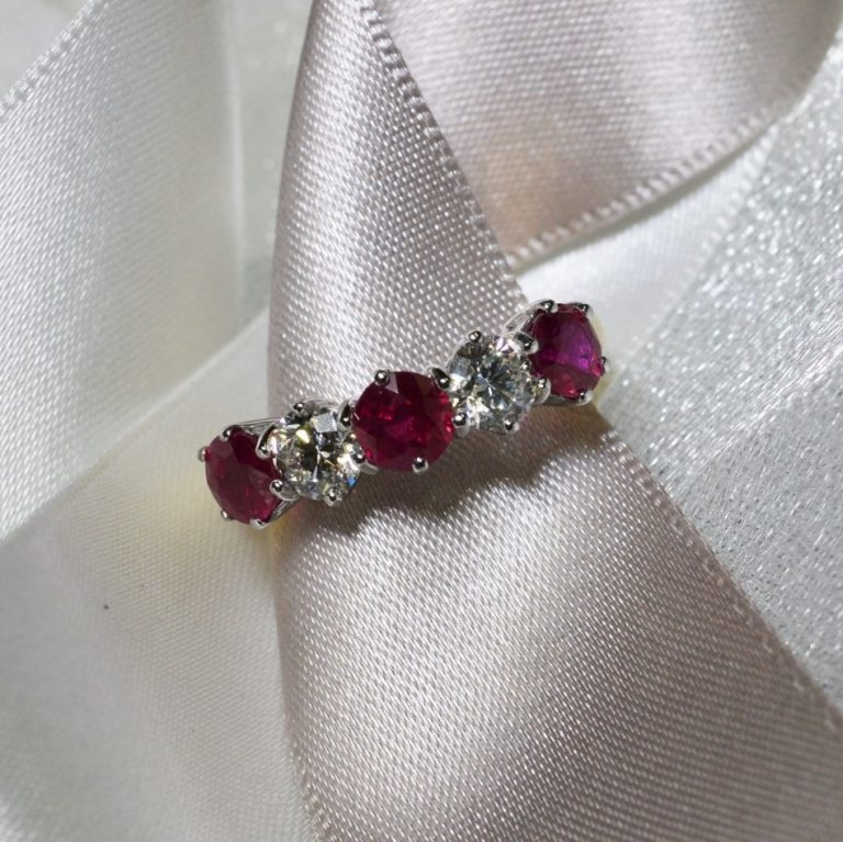 ruby and diamond eternity ring hancocks jewellers manchester