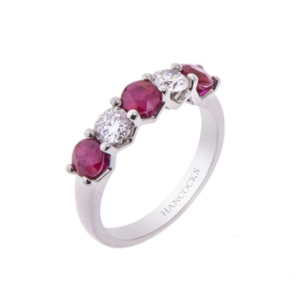 round ruby and brilliant cut diamond 5-stone half eternity ring mounted in a 4-claw setting