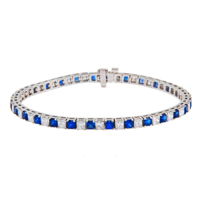 square-cut-sapphire-and-diamond-claw-set-bracelet