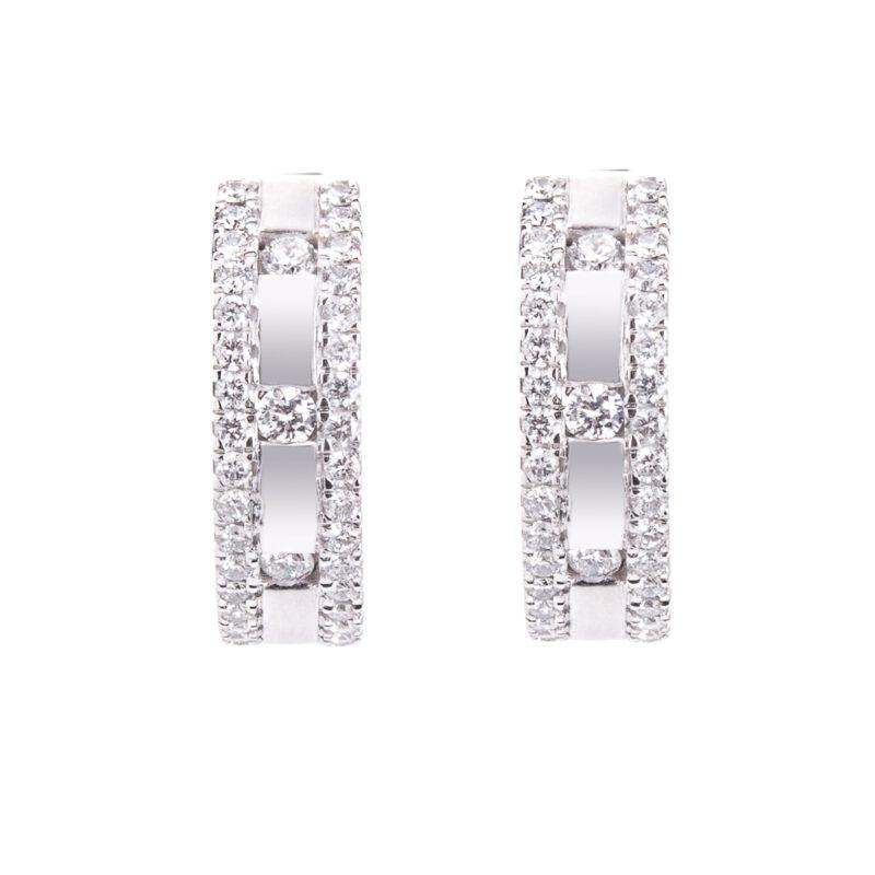 brilliant cut diamond set hoop earrings