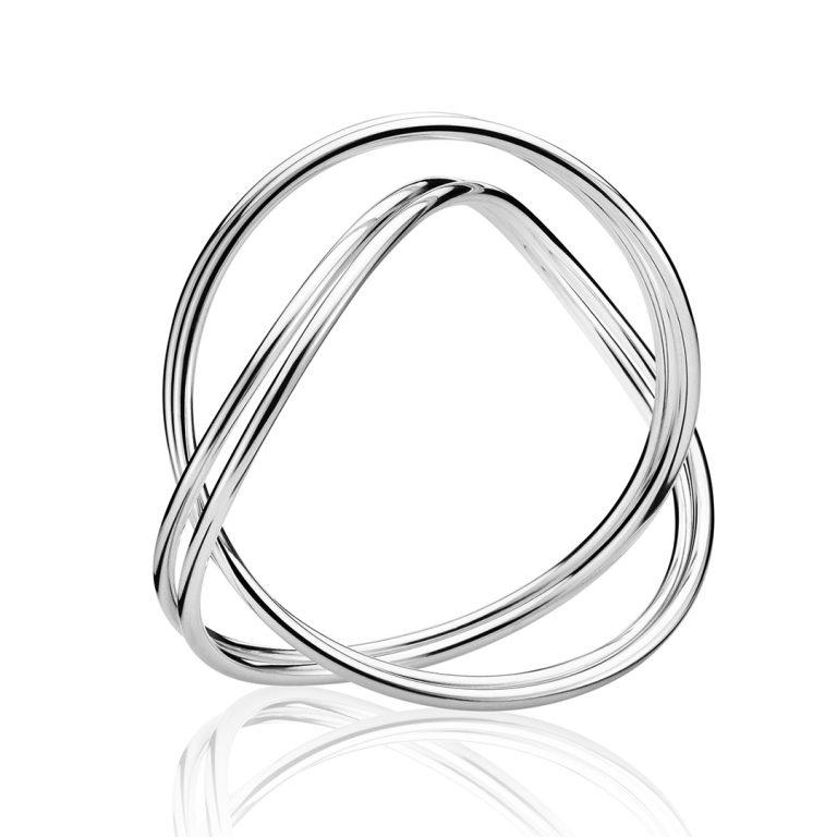 silver georg jensen double alliance bangle 3531011