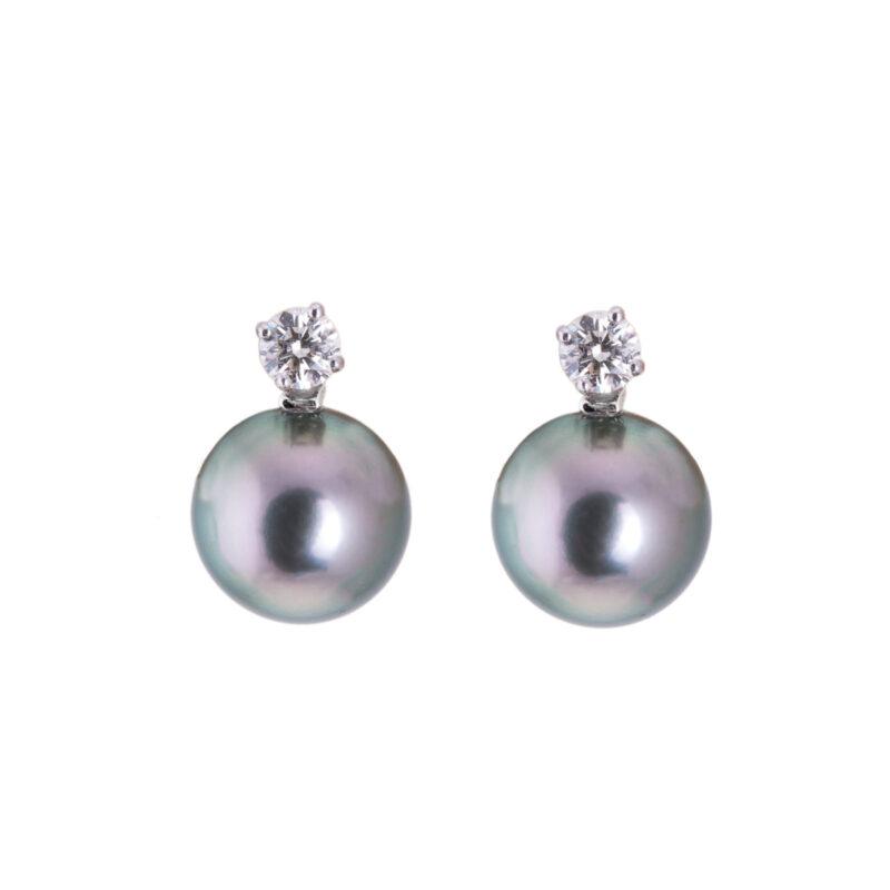 18ct white gold black tahitian pearl and diamond earrings