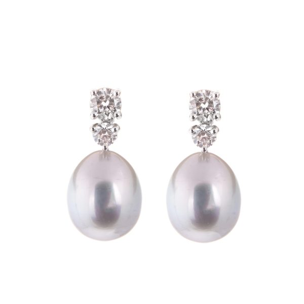 18ct white gold oval south sea pearl and brilliant cut diamond drop earrings
