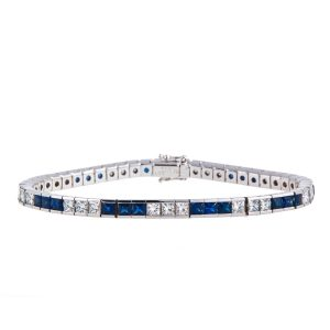 sapphire-and-princess-cut-diamond-bracelet