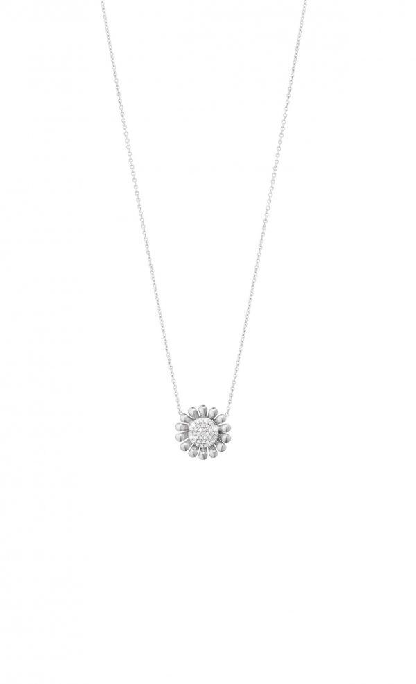georg jensen sunflower silver and pave' diamond set pendant