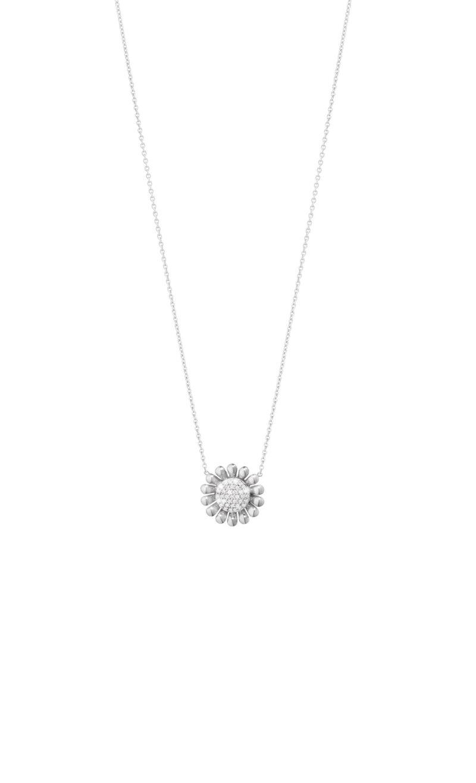 georg jensen sunflower silver and pave' diamond set pendant