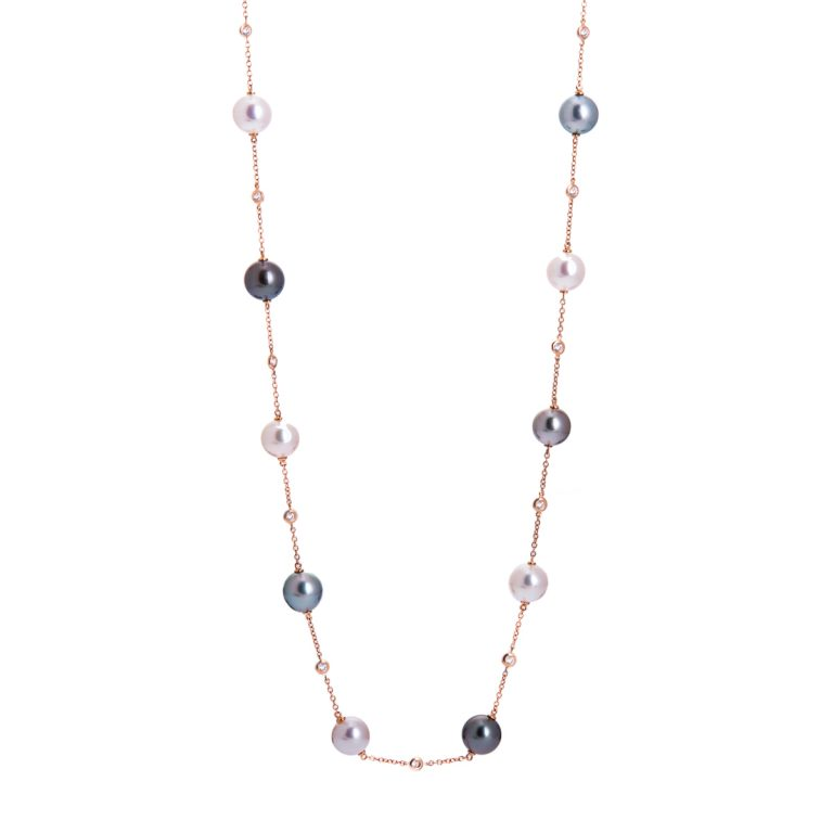 tahitian pearl and diamond necklace in rose gold HC 100719 9