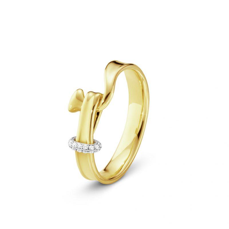 georg jensen Torun 18ct yellow gold diamond set ring