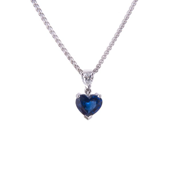 heart shaped sapphire and brilliant cut diamond drop pendant and chain