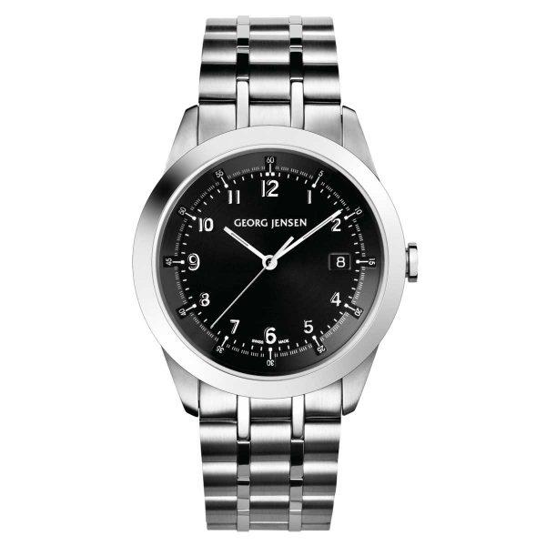 georg jensen Vice all steel bracelet watch with black dial