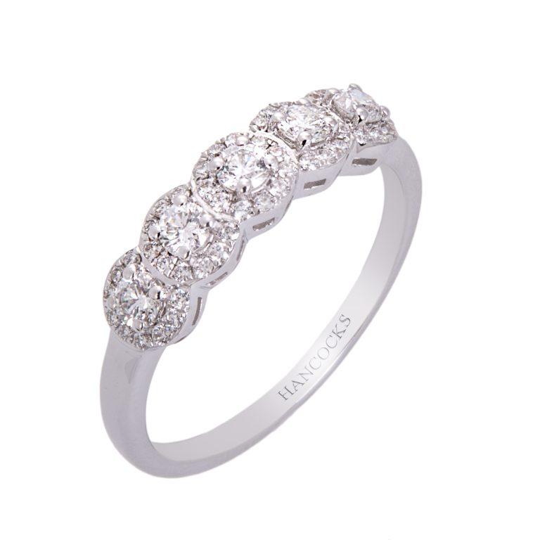 white gold diamond 5 stone halo set ring HC 100719 55