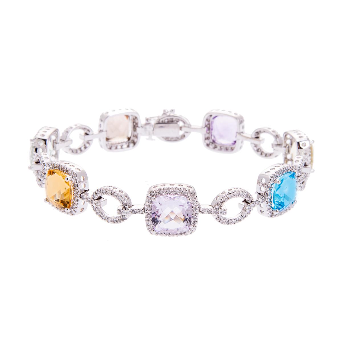 white gold multi gemstone bracelet with diamonds HC 100719 3