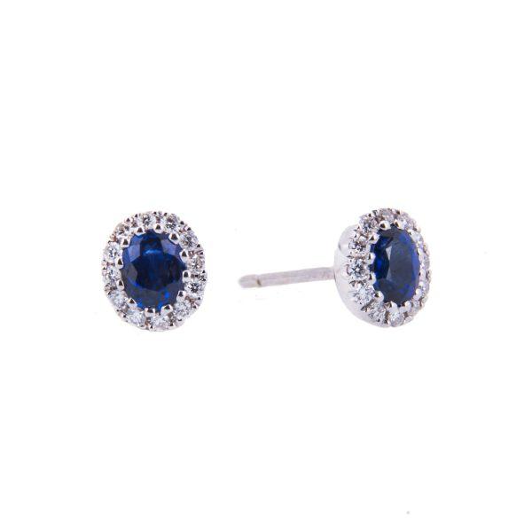 sapphire and diamond oval studs
