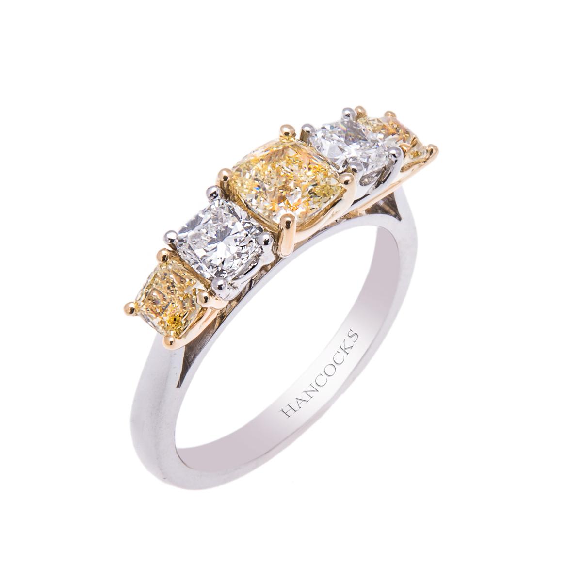 platinum-claw-set-yellow-diamond-5-stone-eternity-ring