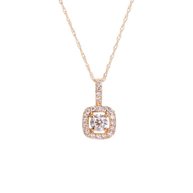 halo set diamond pendant