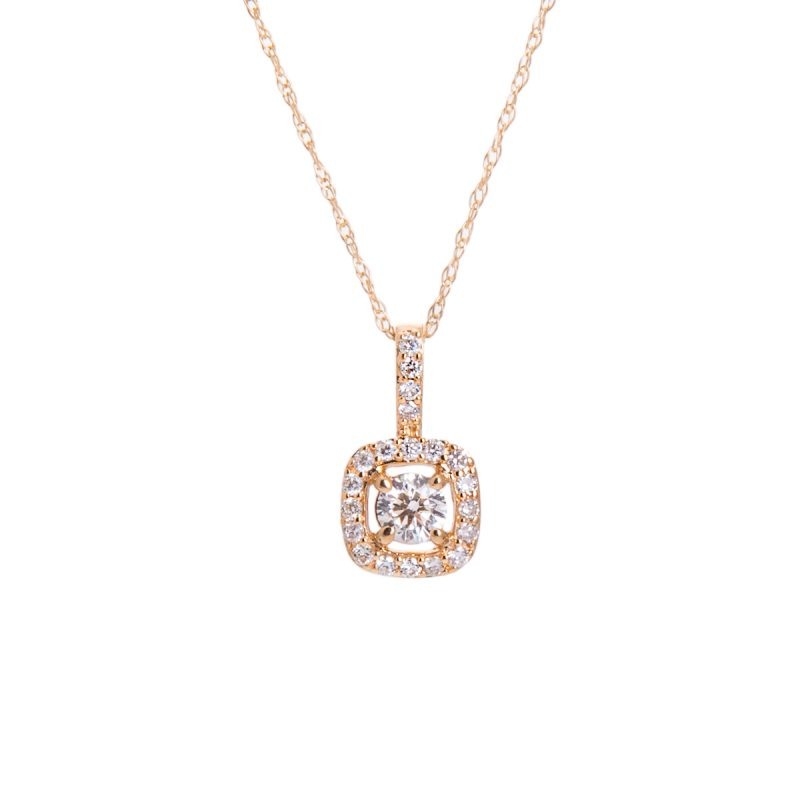 halo set diamond pendant
