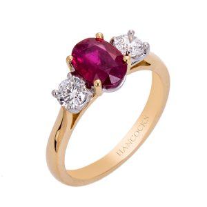 Yellow Gold Ruby And Diamond 3 Stone Ring HC 100719 67 300x300