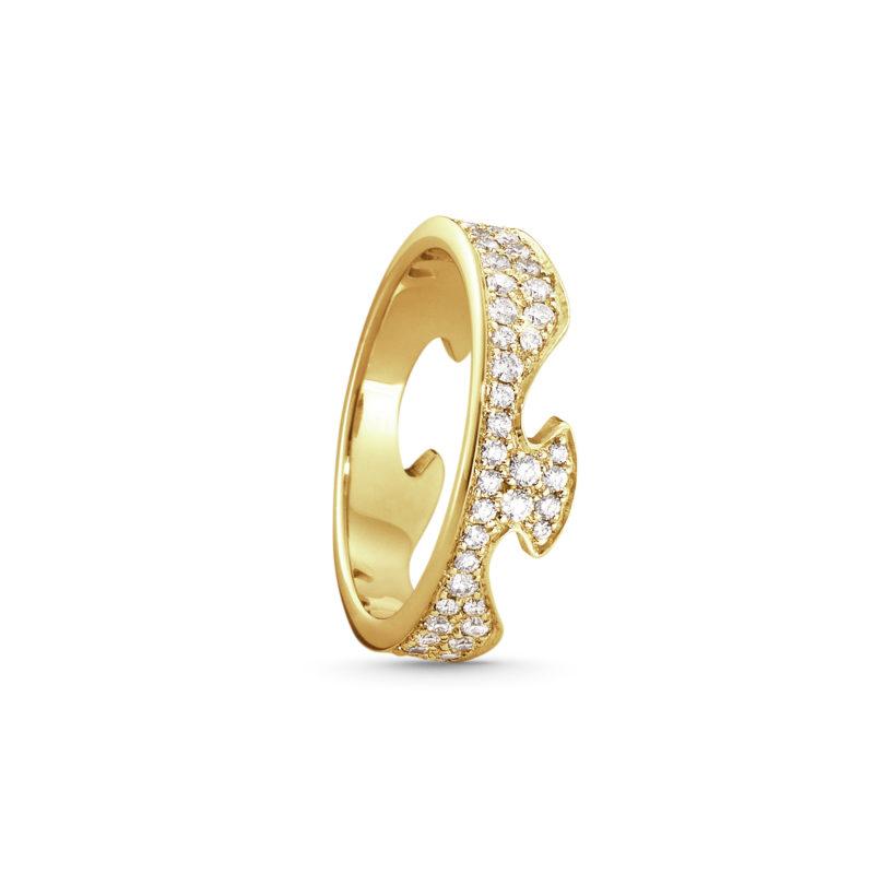 georg jensen fusion 18 carat yellow gold pave' diamond set end section ring